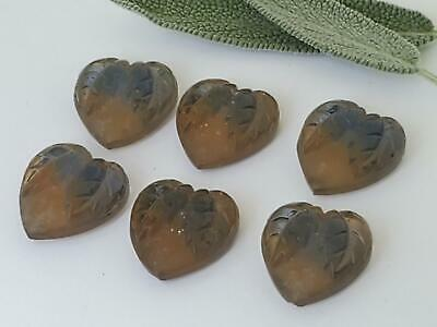 6 1930/'S VTG GLASS Yellow Gold Foil Hearts LEAVES Cabochons Cabs JEWELRY CZECH