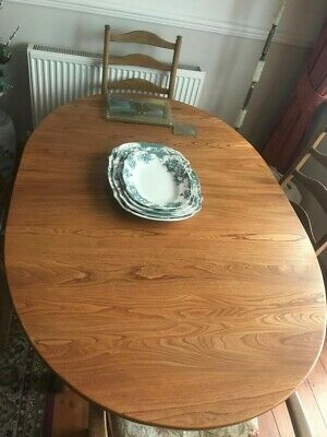 Vintage Ercol Solid Extending Dining Table With Two Chairs And Two Carvers