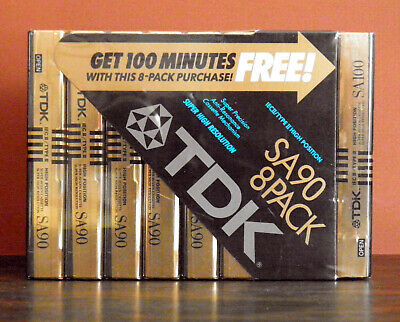 TDK Cassette Tapes Brand New Factory-Sealed Package of 9, 8 SA90 &1 SA100