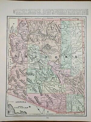 "Vintage 1901 ARIZONA TERRITORY Atlas Map 11""x14"" ~ Old Antique PHOENIX TUCSON"