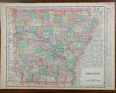 "ARKANSAS Vintage 1902 Atlas Map 14""x11"" ~ Old Antique LITTLE ROCK CONWAY"