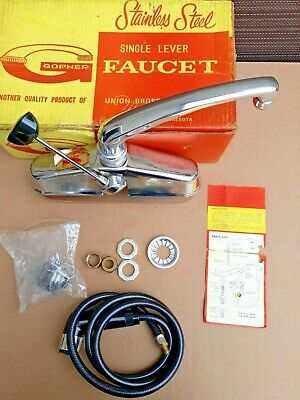 Vintage Gopher 12-A Single Handle Kitchen Faucet w hose & spray, Stainless Steel