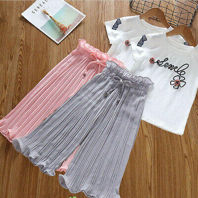Newborn Kids Baby Girls Letter T Shirt Tops+Ruffle Pants Outfits Clothes Sets