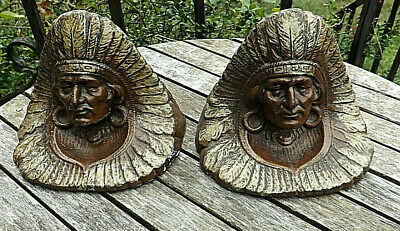 HUGE HEAVY PAIR BRONZED CAST IRON ANTIQUE INDIAN CHIEF BUST BOOKENDS c1910