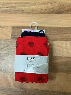 Bnwt M&S Baby Girl 2 Pairs Soft Cotton Tights In Navy And Red 0-6 Months Winter
