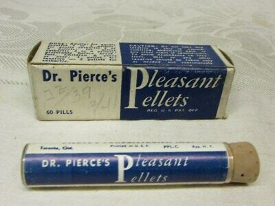 DR PIERCE'S PLEASANT PELLETS, Old Medicine Bottle w Contents & Original Box