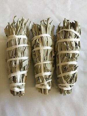 """White Sage Smudge Stick 4"""" - 5"""" 3 Pack (Herb, House Cleansing, Smudge Bundle)"""