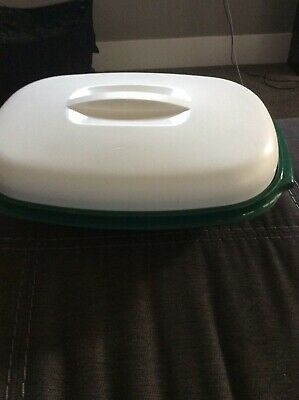 vintage Tupperware Microwave Rice Veggie Steamer Cooker 6 Cup Green / white 3 Pc