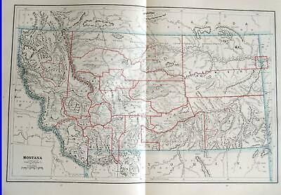 1892 Montana Large Original 2-page Color Atlas Map^  Antique 127 years-old!!