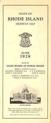 1928 Rhode Island Official Road Map from State Highway Department