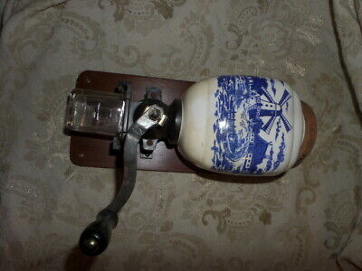 Vintage DELFT Wall Mount Porcelain COFFEE MILL GRINDER Dutch windmill white blue