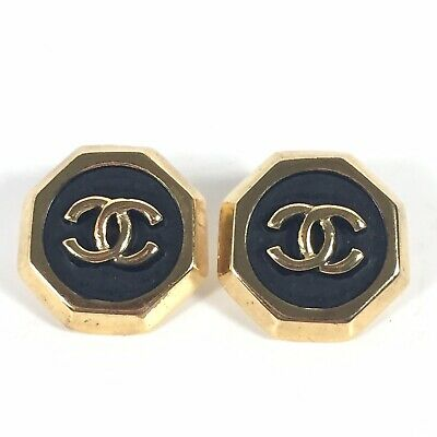 CoCo Chanel Gold Tone Black Enamel CC Logo Earrings