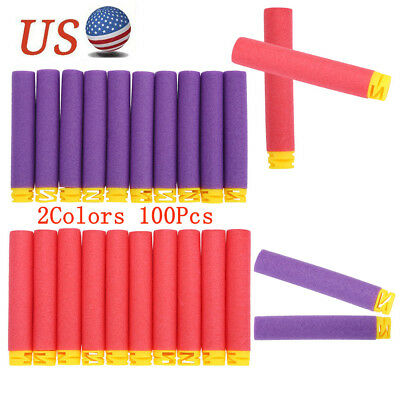 100X Red/Purple Soft Refill Foam Bullet Darts For Elite Toy Gun Darts USA
