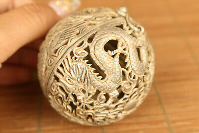 Asian old tibet silver hand carving dragon phoenix incense burner pendant gift