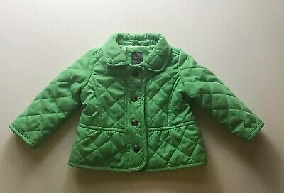 baby gap 6-12 month girls quilted green coat with snap closure