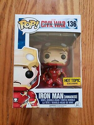 Funko Pop! Marvel Avengers Civil War Unmasked Iron Man Hot Topic Exclusive 136