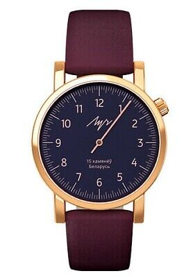 24k GOLD Plated Ladies Watch One Hand LUCH Burgundy Strap Mechanical Beautiful
