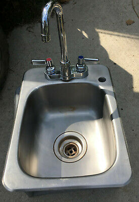 Stainless Steel Drop In Hand Sink & Gooseneck Faucet 19 x 12 x 6 utility