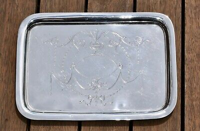 357g - Antique Solid Sterling Silver Dressing Table Tray - Chester 1890s - Swags