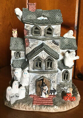 Old World Christmas HALLOWEEN 1987 Large HAUNTED HOUSE Lights Ghost Porcelain