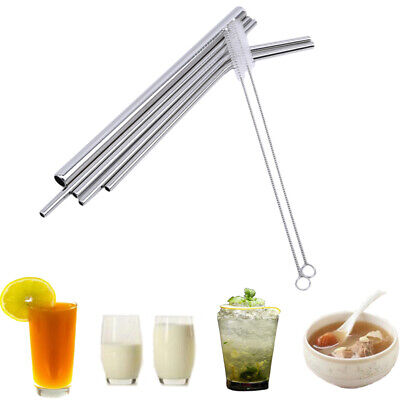Stainless Steel Drinking Straws Straight Bent Metal Straw Brush Reusable LL