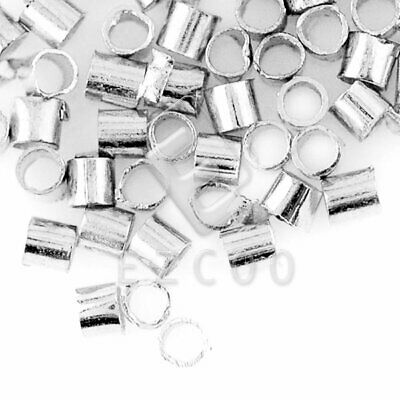 20g(1200pcs) Crimp End Beads Tube Silver 1.5mm Craft Findings EBCP0015