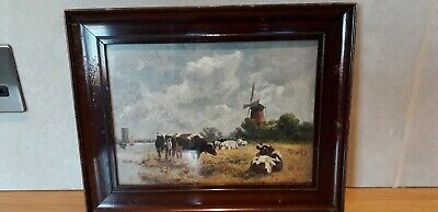 Vintage...picture...vintage Print...cattle..cows...framed...country Styling
