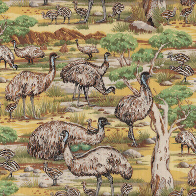 Emu Australian Bird Gumtrees Outback Animal Quilting Fabric FQ or Metre *New*