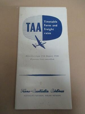 TAA, timetable, fare and freight brochure, 1940s, 50s
