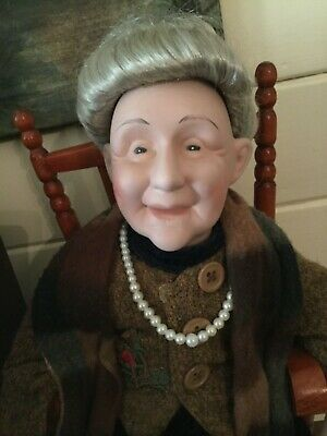 Bisque Porcelain Grandma Collectors Doll With Wood Rocker Unusual Sku 5284