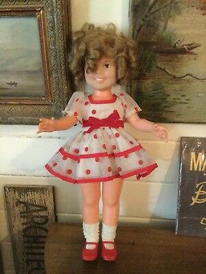 Vintage Shirley Temple Doll Ideal 16 Inch 1973 Red Polka Dot Dress Vinyl
