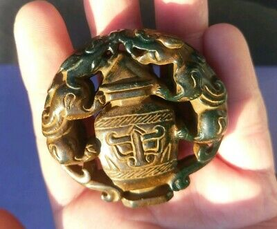 Collectable Chinese Old Jade Handcarved 2 Tigers On Bottle