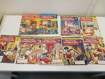 9 X The Practical Householder Magazines All Listed 1957 Good condition DIY Home