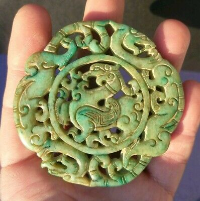 Collectable Chinese Old Jade Handcarved Phoenix And Dragon Pendant