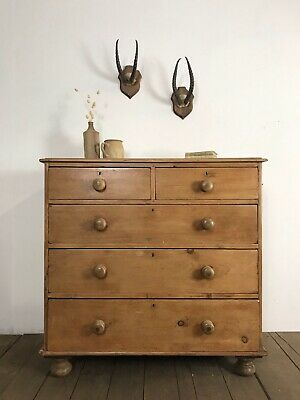 Victorian Antique Rustic Pine Country Farmhouse Chest Of Drawers