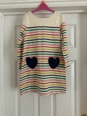 Mini Boden Cream Multi Coloured Striped Cotton Dress 6-7