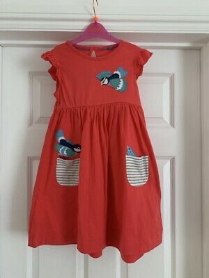 Mini Boden PInk Bird Detailed Cotton Dress 6-7