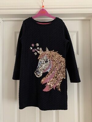 Monsoon Girls Navy Blue Sparkly Unicorn Dress 7-8