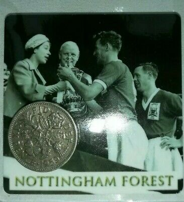 Nottingham (Notts) Forest Football card & Lucky Sixpence. Ideal Birthday gift