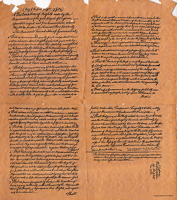 Virginia Declaration Of Rights 1776 parchment reproduction