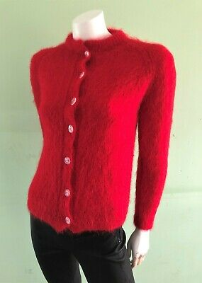 Vintage Retro Red Rockabilly Hand Knitted Mohair Wool Cardigan Jumper 6-8 XXS-XS