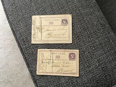 Victorian stamped postcards , half penny, 1906 penny red