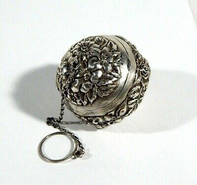 Amazing Antique Sterling TEA BALL STRAINER Gorgeous Floral Repousse