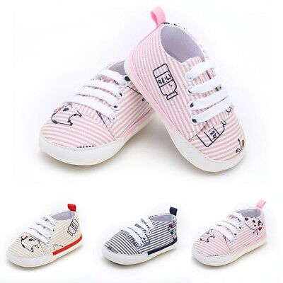 Newborn Infant Baby Girl Boys Cow Print Striped Soft Sole Sneakers Shoes Gift