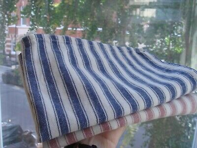Vintage Authentics 100% Cotton Tea Towels Red & Blue Striped Bistro Style India