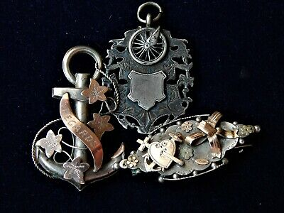 2x Sterling Silver Antique Victorian Brooches+ Sterling Fob