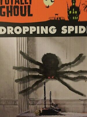 """Animated Gemmy Spider Large Furry 36"""" 3 Foot Dropping Prop Haunted"""