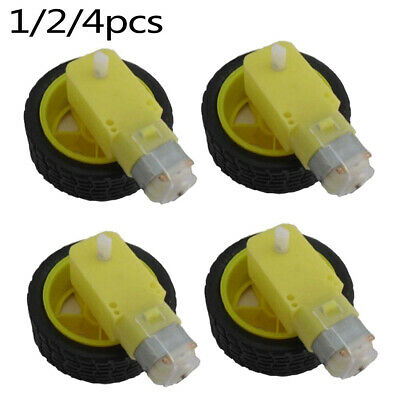 1 Set Smart Car Robot Plastic Tire Wheel With DC 3-6v Gear Motor Fit For Arduino