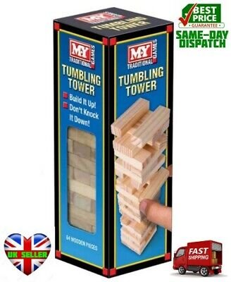 "Stacking Tumbling Tumble Wooden Blocks 9"" Tower 54 pcs Family Jenga Party GAME"
