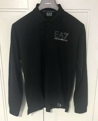 Armani EA7 Men's Long Sleeve Polo Shirt Size Medium Pit To Pit 20 Inches